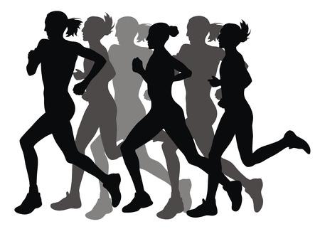 Streszczenie wektora ilustracją marathon runners