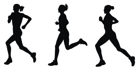 Resumen ilustración vectorial de corredores de maratón
