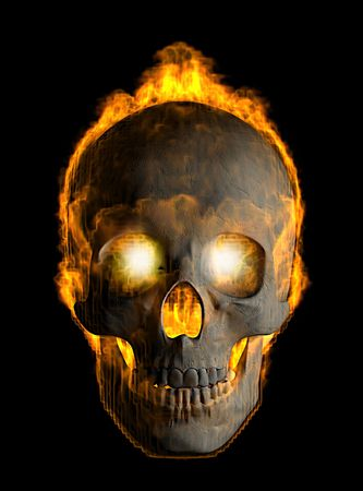 fire skull: 3d render of skull covered with flames