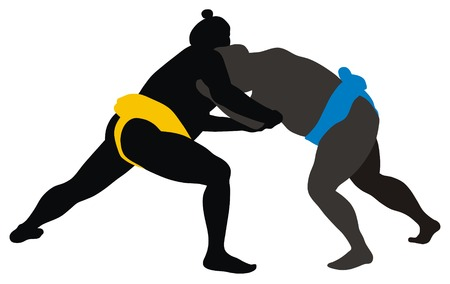 Abstract vector illustration of sumo wrestlers Illustration