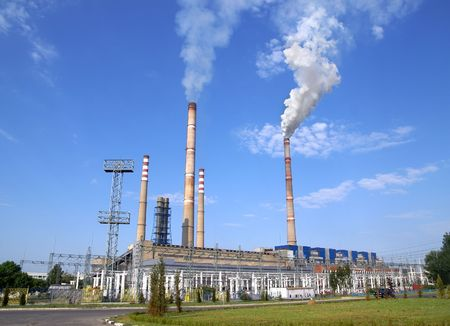 thermo: Ecological infection of thermo electric power station Stock Photo