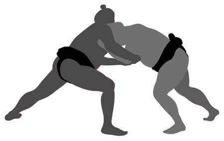 wrestlers: Abstract vector illustration of sumo wrestlers Illustration