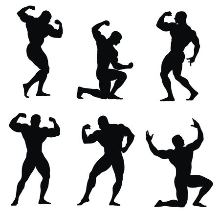 strapping: Abstract illustration of bodybuilders silhouettes