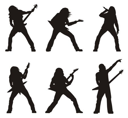 heavy: Abstract illustration of heavy metal guitarists silhouettes
