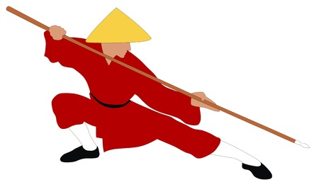Abstract vector illustration of kung fu fighter