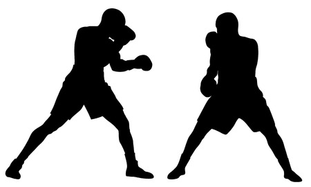 Abstract vector illustration of boxing men silhouettes Stock Vector - 5236387