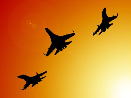 the destroyer: 3d render of flyng jet fighters silhouettes on sunset background