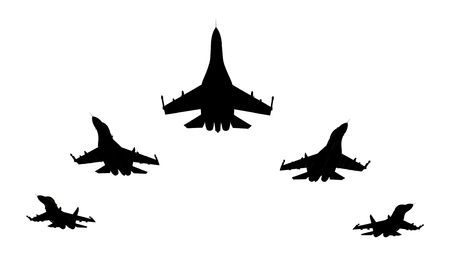 the destroyer: 3d render of flyng jet fighters silhouettes on white background