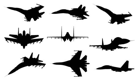 su: Different silhouettes of jet fighter