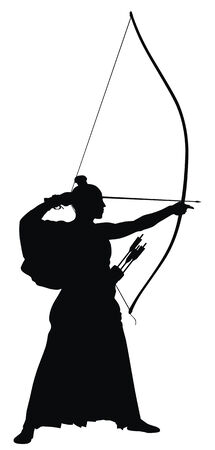 archer: Abstract vector illustration of japanese archer silhouette Illustration