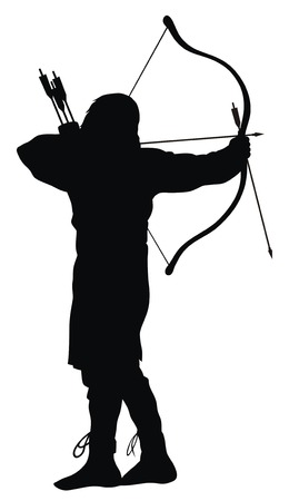 the archer: Abstract illustration of ancient archer silhouettes