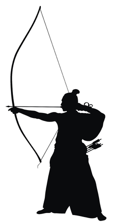 the archer: Abstract vector illustration of japanese archer silhouette Illustration