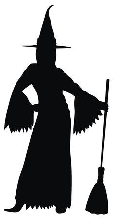 beldam: Illustrazione vettoriale Abstract of silhouette strega sexy