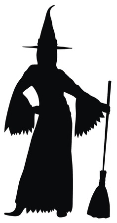sorci�re sexy: R�sum� illustration vectorielle de la silhouette de sorci�re sexy