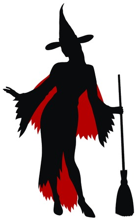 Abstract vector illustration of sexy witch silhouette Vector
