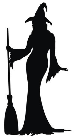 heks: Abstract vector illustratie van sexy heks silhouet