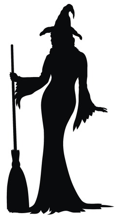 Abstract vector illustration of witch silhouette