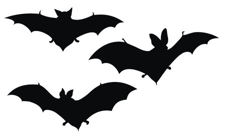 dracula: Abstract vector illustration of bats silhouette Illustration