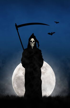 Illustration of the Gream Reaper against the moon illustration