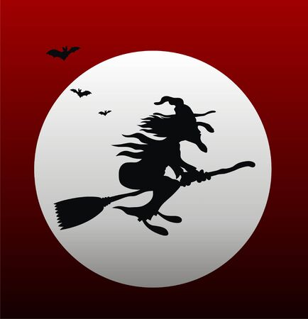 beldam: Illustration of cartoon style flying witch silhouette