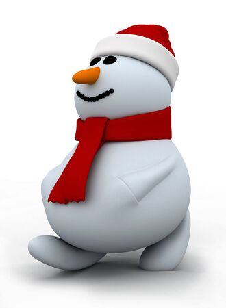 3d render of walking snowman photo