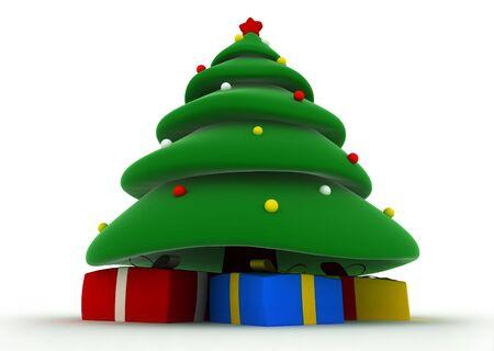 3d render of christmas tree cartoon style photo