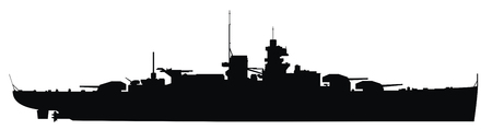 warship: vector illustration of Warship silhouette Illustration