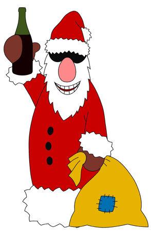 Abstract vector illustration of drunk Santa Claus Stock Vector - 5816450