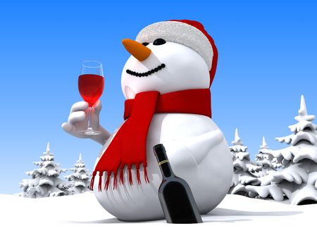 christmas drink: 3D render of funny snowman
