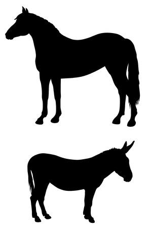 hoofed mammal: Abstract vector illustration of farma animals silhouettes Illustration
