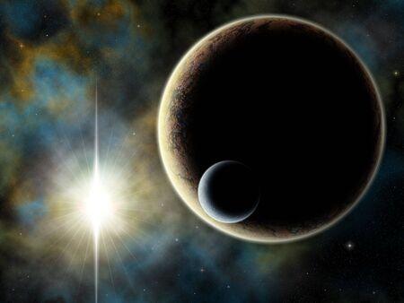 luna: Illustration of fantastic space scene Stock Photo
