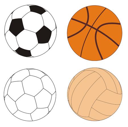balonmano: Ilustraci�n vectorial de varias bolas de deportes