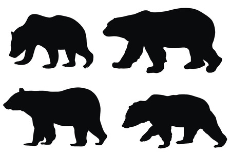 bear silhouette: Abstract vector illustration of various bears Illustration
