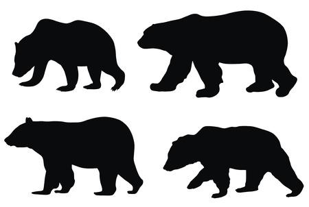 bear silhouette: Illustrazione vettoriale astratta di vari orsi