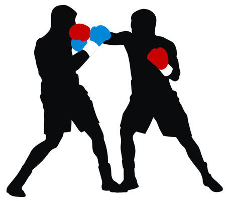 boksör: Abstract illustration of boxing men silhouettes Çizim