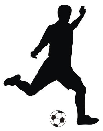 world player: Ilustraci�n vectorial abstracta de la silueta de jugador de footbal