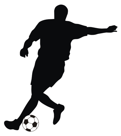 soccer match: Abstract vector illustration of footbal player silhouette