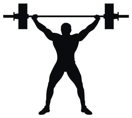 lifting: Abstracte vector afbeelding van gewicht lifter atleet