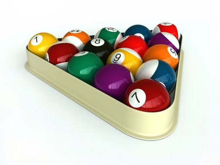 3d render of billiard balls and triangle on white background Stock Photo - 7016592