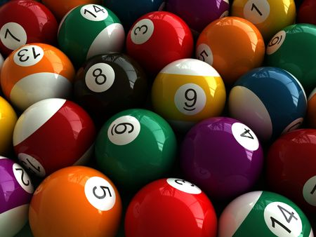 3d render of billiard balls photo