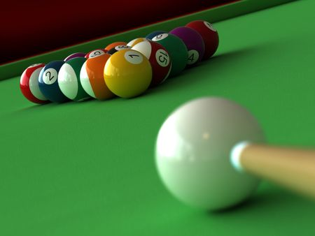 snooker tables: 3d render of billiard balls and table Stock Photo