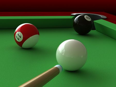 3d render of billiard balls and table photo