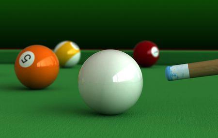 snooker balls: 3d render of billiard balls and table Stock Photo