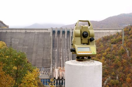 Measurements of deformation in ladrge dam wall                photo