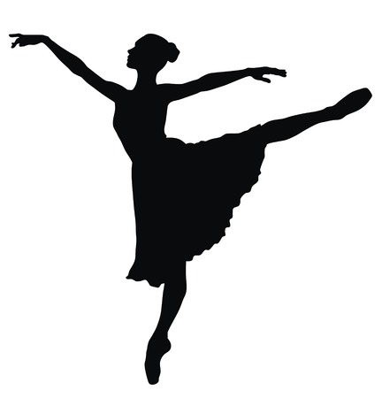 dancer silhouette: Abstract vector illustration of dancing ballerina