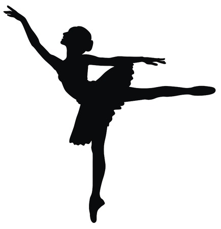 ballerina silhouette: Abstract vector illustration of dancing ballerina
