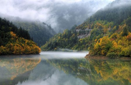 dam Teshel situated in mountain Rodopi, Bulgaria Stock Photo