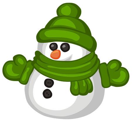 illustration of funny snowman cartoon style