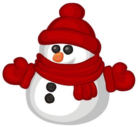 Illustration du style de dessin animé de drôle de Bonhomme de neige Vecteurs