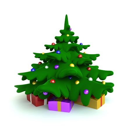 3d render of christmas tree cartoon style